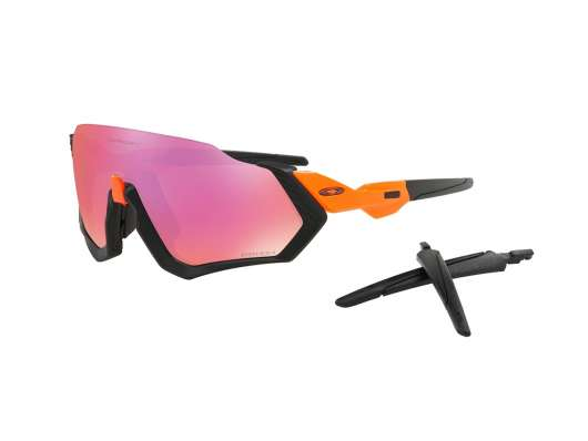 Oakley Flight Jacket Glasögon Neon Orange Prizm Trail